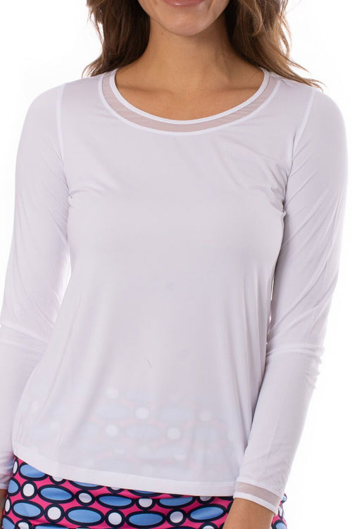 White Long Sleeve with Mesh Trim Top