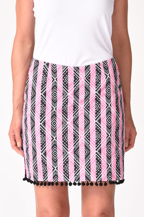 Pom-Pom Trim Stretch Cotton Skort | Musical Chairs | Available in 2 Lengths