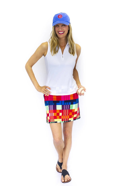 Geometric Multicolored Performance Stretch Skort | Rum Runner