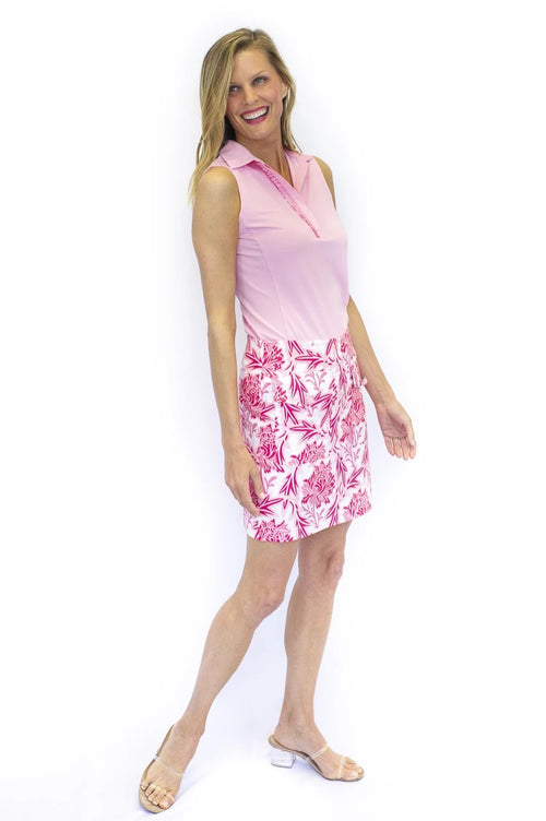 Rose floral stretch cotton skort, skirt pink, floral pattern, button detail