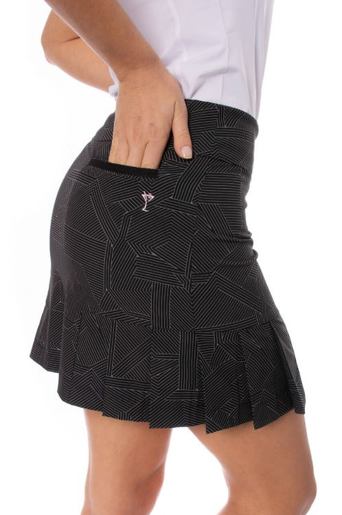 Black & White Performance Side Pleat Skort | Gelato