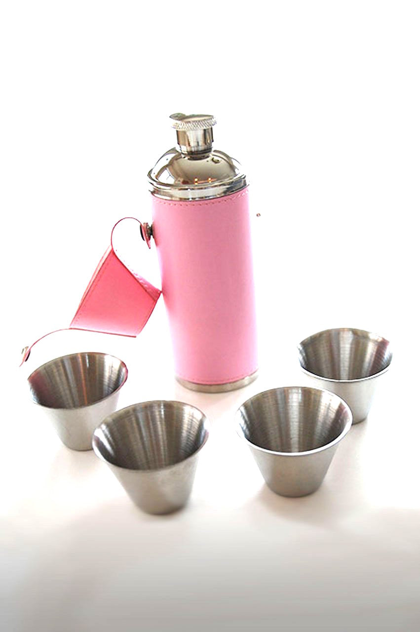 Pink Golf Birdie Bottle Flask Set | Golftini
