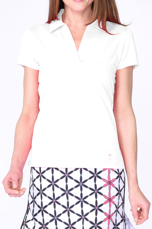 White Short Sleeve Pima Cotton with Mesh Collar Polo