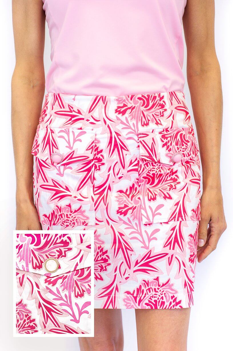 Pink & White Floral Stretch Cotton Skort | Rosé | Available in 2 Lengths