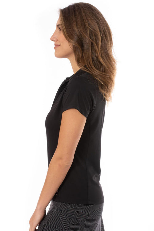 Black Short Sleeve Ruffle Stretch Polo