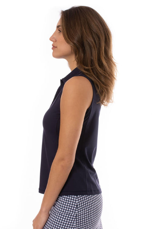 Navy Sleeveless Fabulous Stretch Polo