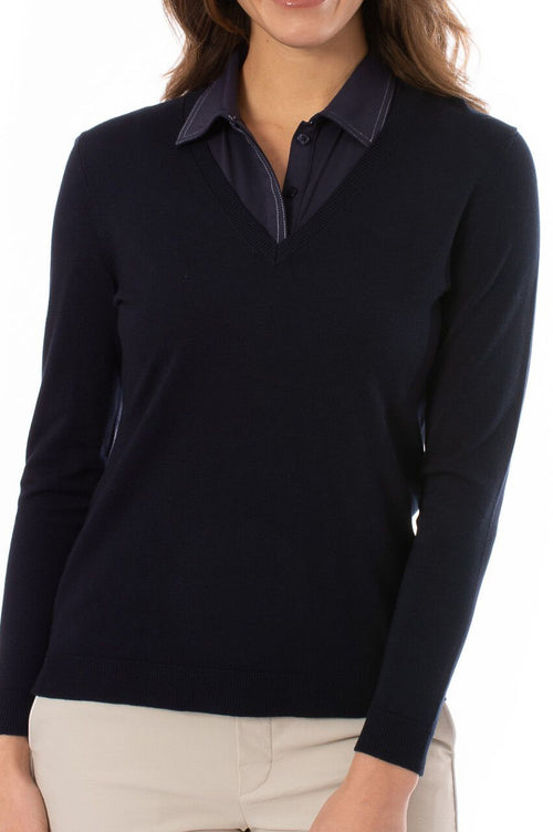 Navy Long Sleeve V-Neck Sweater