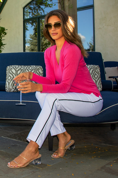 Hot Pink Long Sleeve V-Neck Sweater