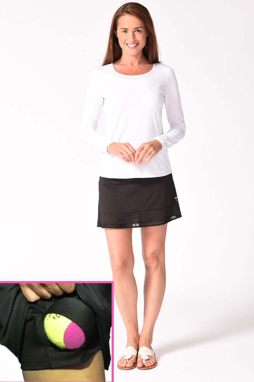 Black Pull-On Mesh Trim Ruffle Stretch Skort | Top Golf