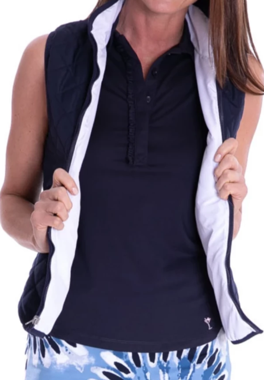 Women's navy and white lightweight reversible wind vest for golf. Ladies golf outerwear quilted reverse vest. Designer golf top for women by Golftini