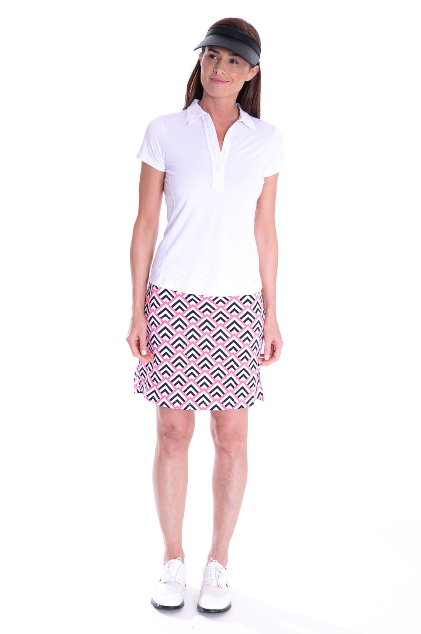 NEW! Short Sleeve Ruffle Tech Polo - White