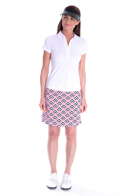 White Short Sleeve Ruffle Stretch Polo