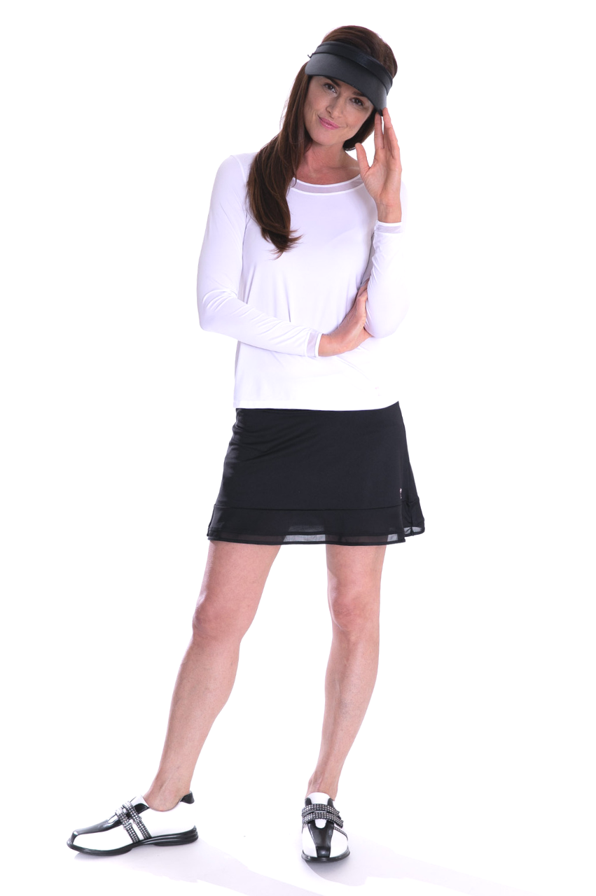 NEW! Long Sleeve Mesh Trim Top - White