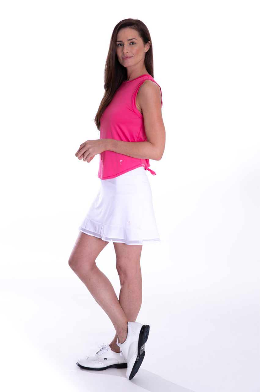 Hot Pink Sleeveless Sport Stretch Tie Top