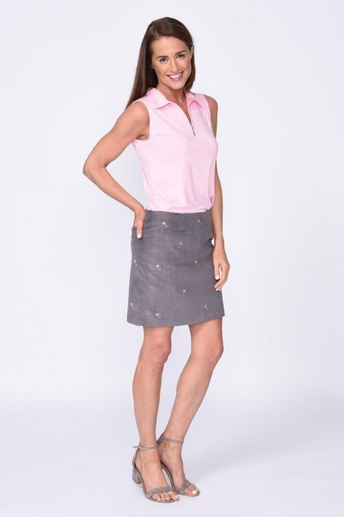 Grey Martini Print Stretch Cotton Corduroy Skort | Vegas