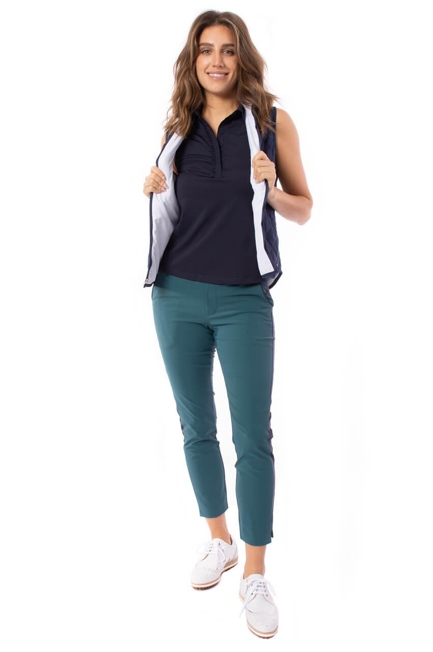 Green with Navy Stripe Pull-on Stretch Ankle Pant