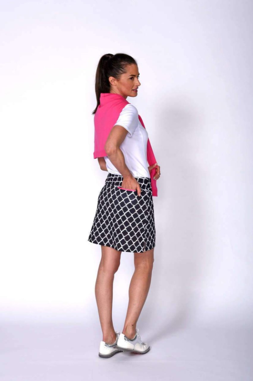 Women's Jackpot Black & White Pull-On Tech Skort
