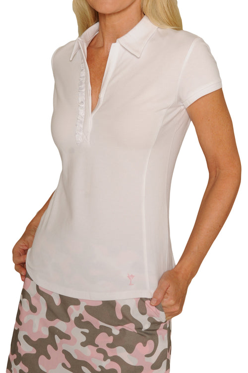 Women's Short Sleeve Stretch Cotton Ruffle Polo - White