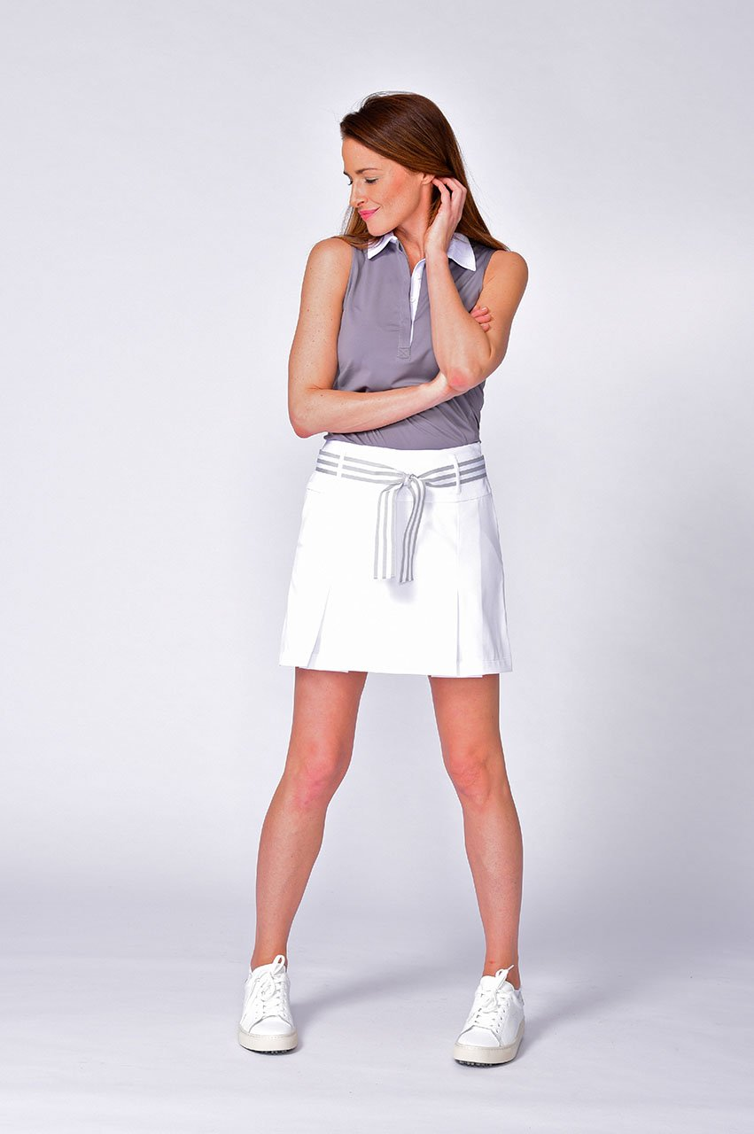Sleeveless Contrast Tech Polo - Grey