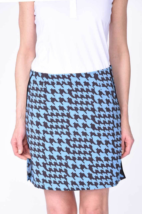 Blue Houndstooth Performance Stretch Skort | Bewitched