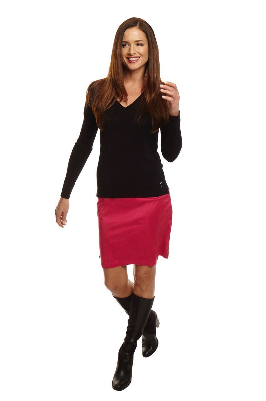Women's Courageous Hot Pink Washable Ultrasuede Skort