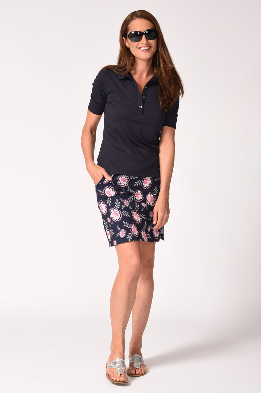 Navy Floral Performance Stretch Skort | Go Fish | Available in 2 Lengths