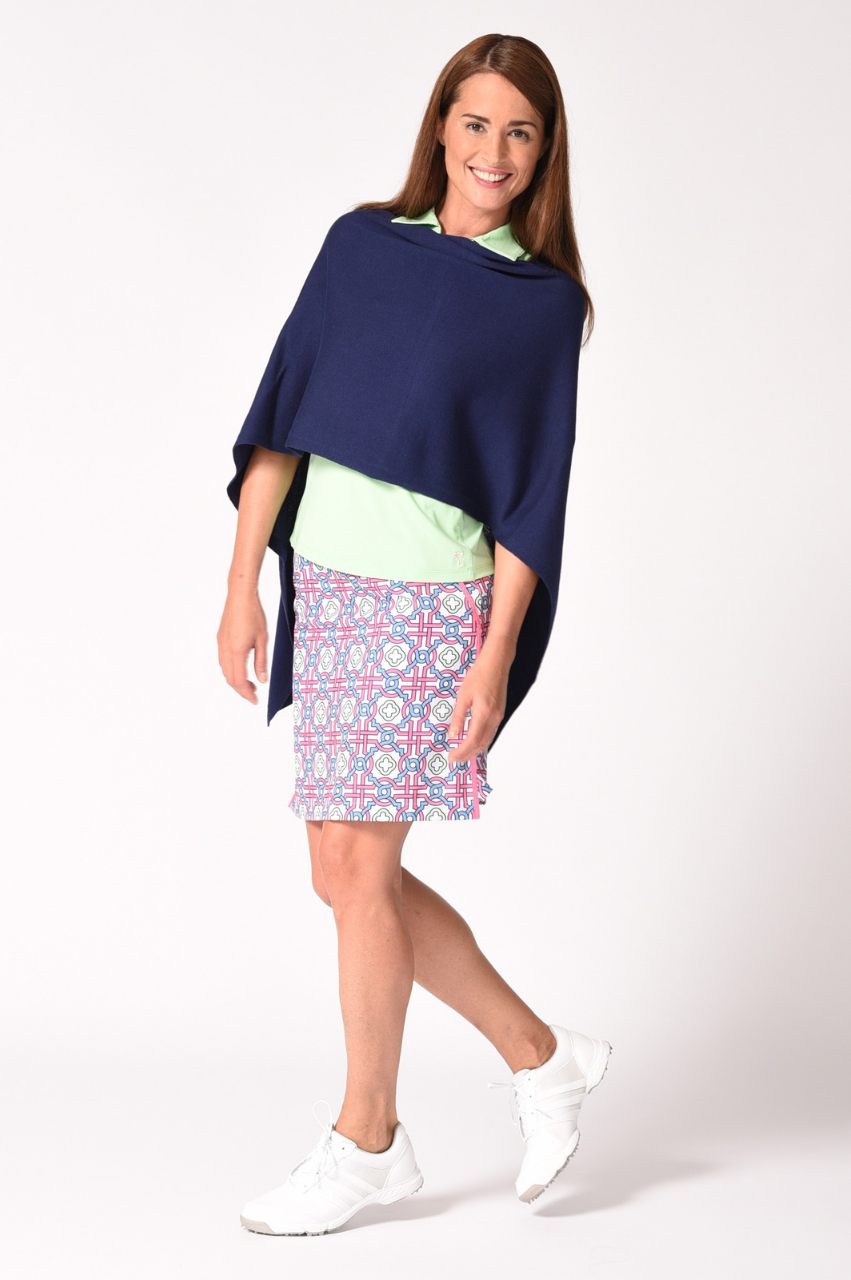 Navy Cotton Cashmere Poncho
