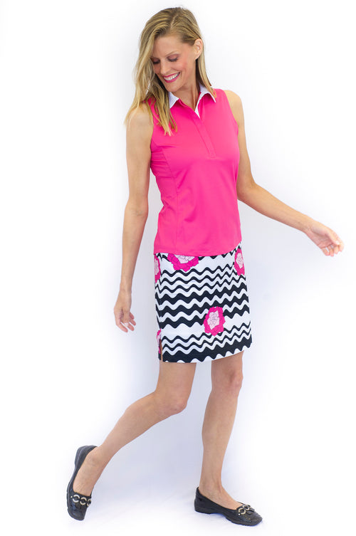 Hot Pink Sleeveless Contrast Tech Polo