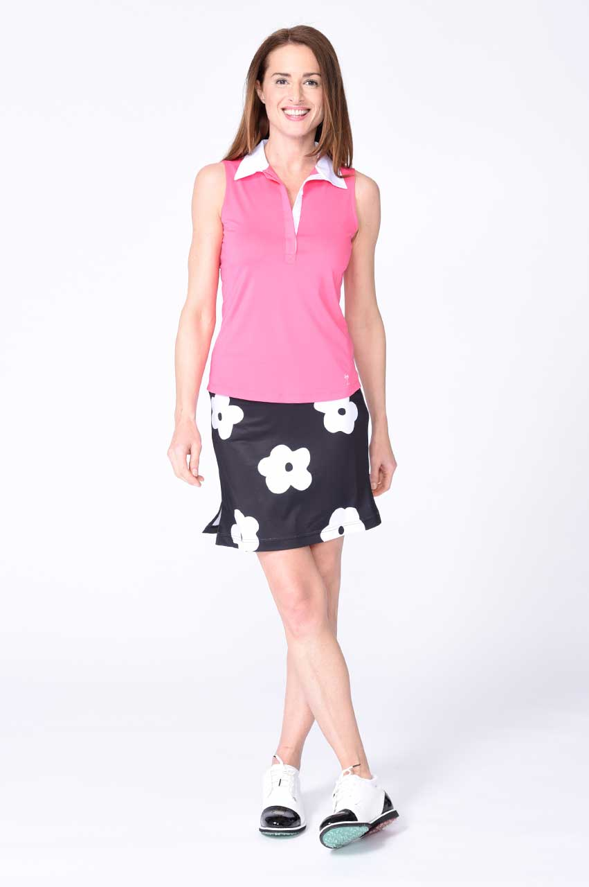 Sleeveless Contrast Tech Polo - Hot Pink