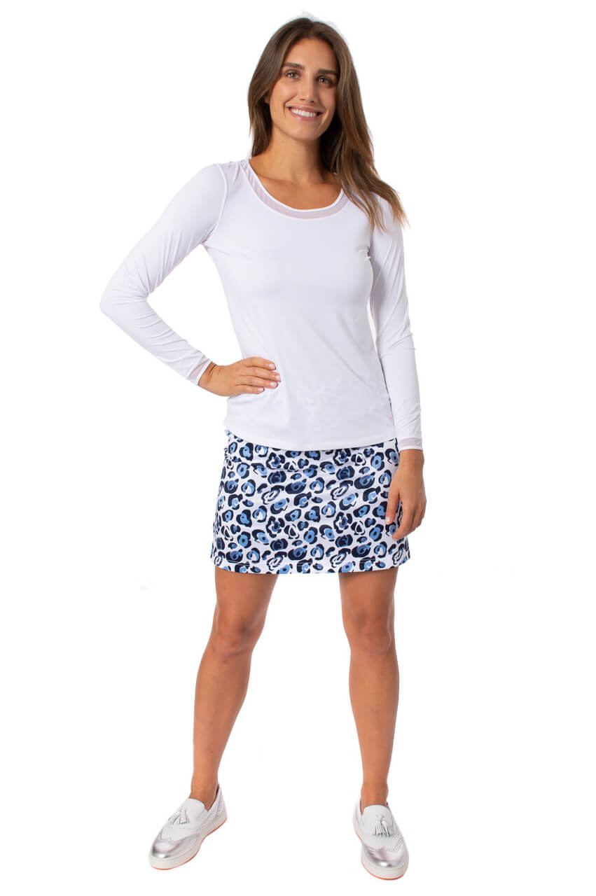 Blue Leopard Print Pull-On Stretch Skort | Cyclone