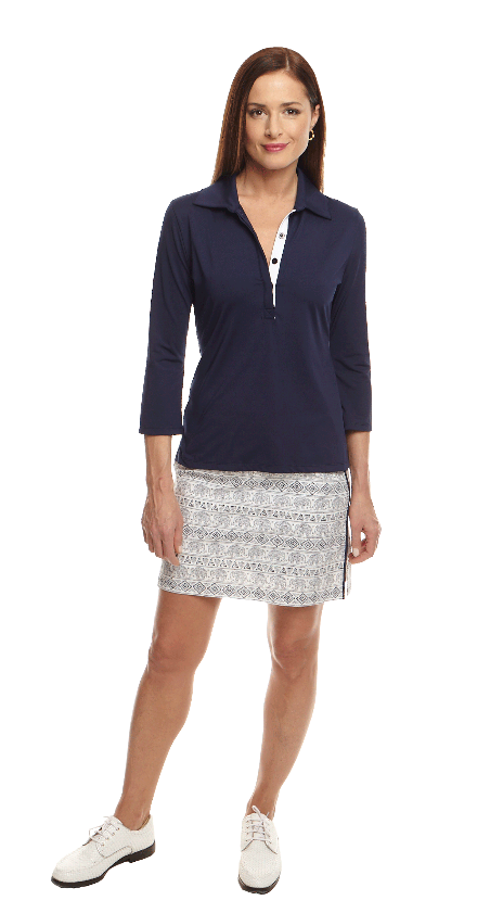 Women's 3/4 Ruffle Tech Polo - Navy