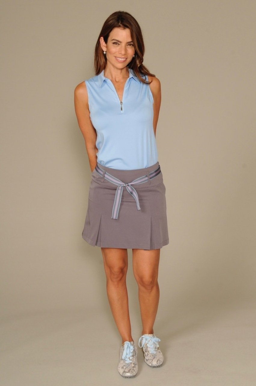 Women's Sleeveless Zip Tech Polo - Light Blue