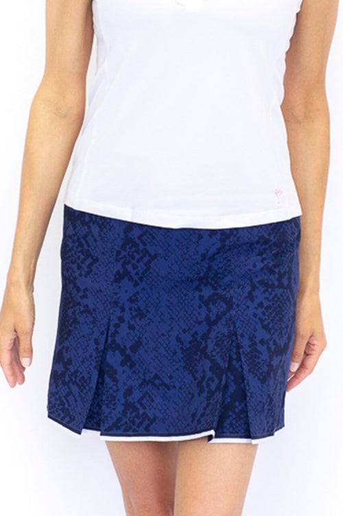 Navy Snakeskin Pleat Stretch Performance Skort | Dark & Stormy