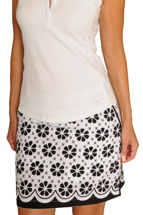 Women's The Masters Black & White Floral Stretch Cotton Skort (Comes in 2 Lengths)