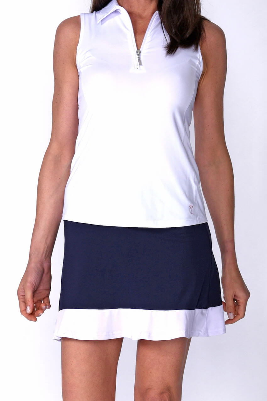 Women's Ambitious Navy & White Pull-On Ruffle Tech Skort