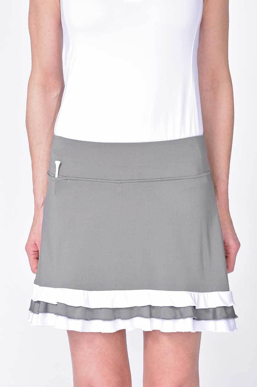 Grey and White Layer Pull-On Ruffle Stretch Skort | Dancing Queen