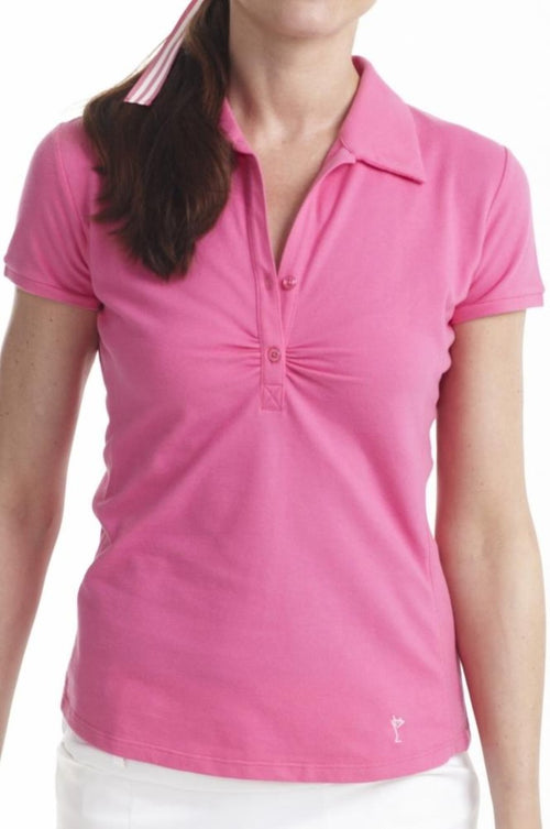 Women's Short Sleeve Stretch Cotton Button Polo - Hot Pink