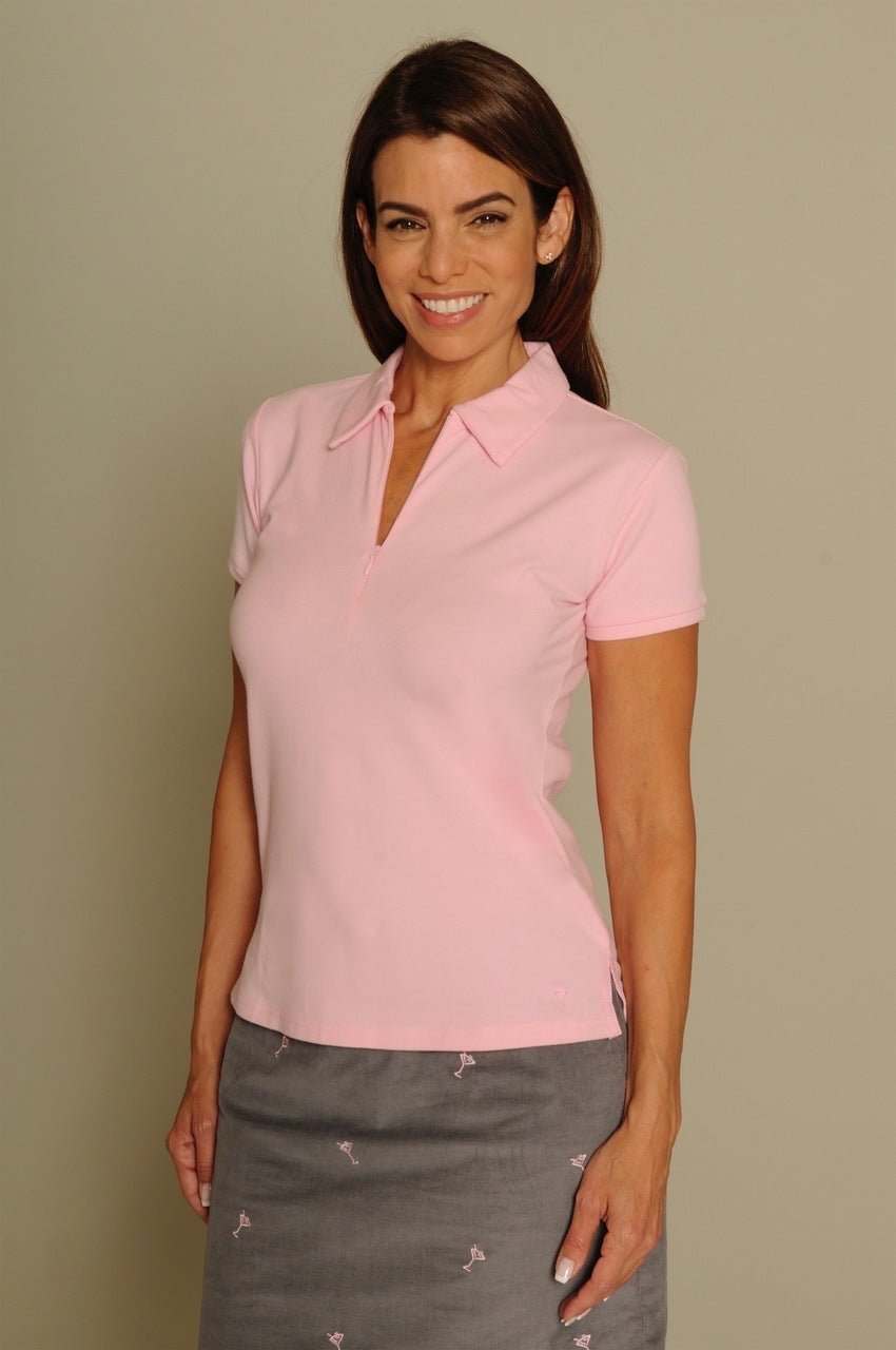 Women's Short Sleeve Stretch Cotton Zip Polo - Light Pink