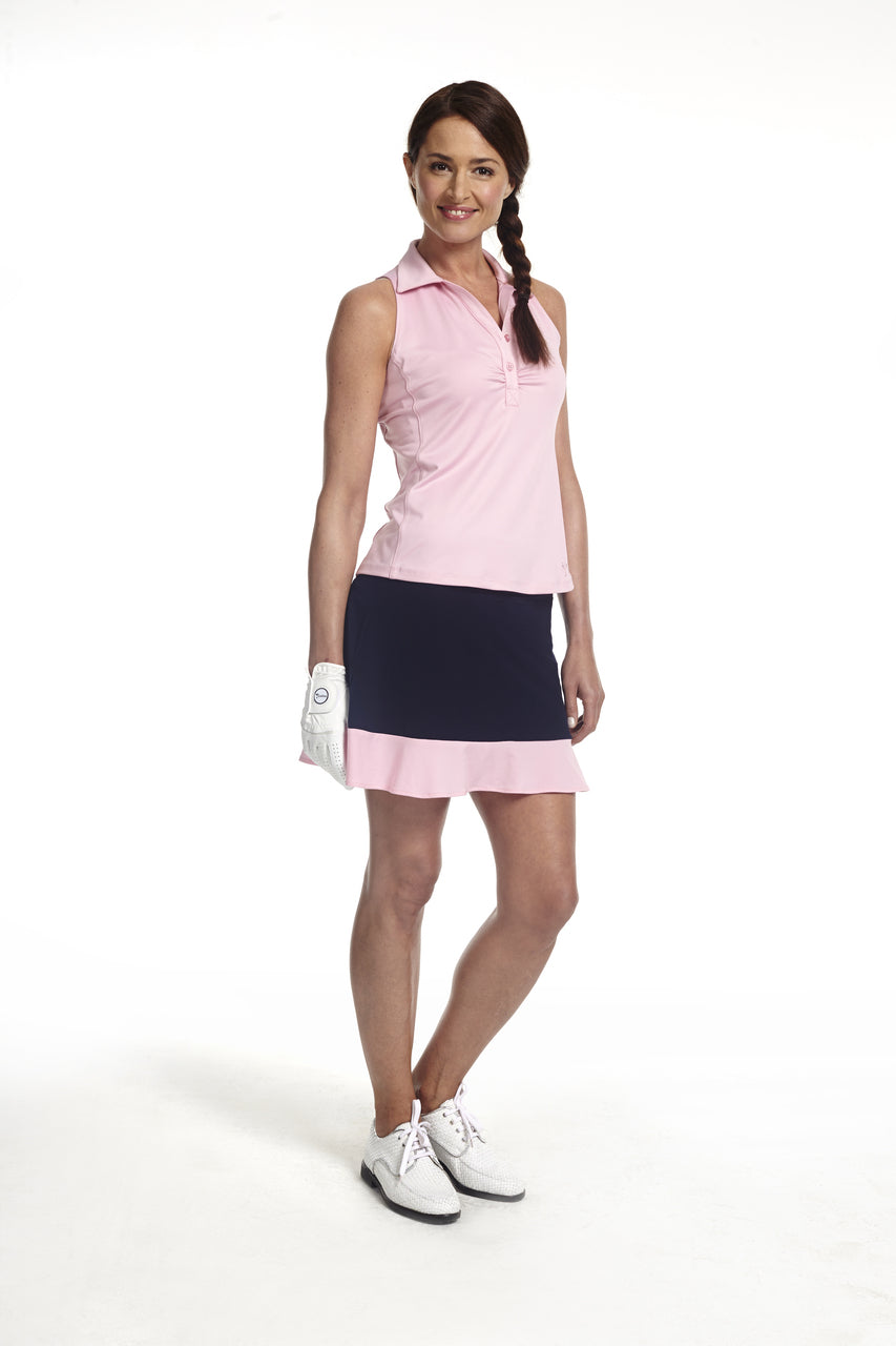 Women's GT Pull-On Tech Skort - Navy with Light Pink
