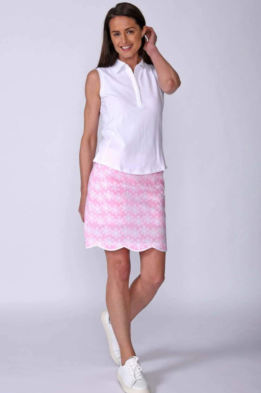 Women's Flower Power Pink Stretch Cotton Skort (Comes in 2 Lengths)