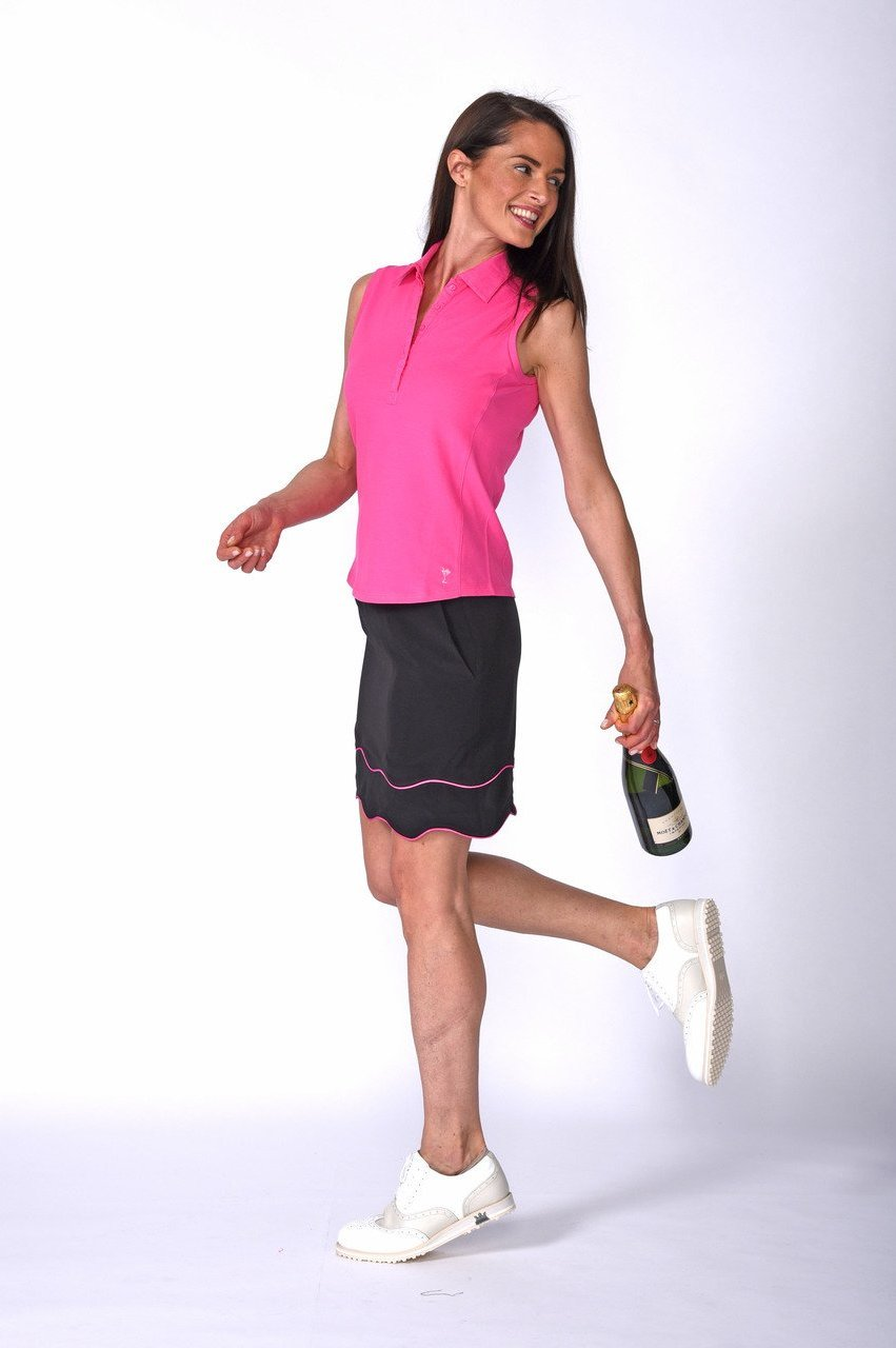 Women's Double Trouble Black & Hot Pink Performance Skort (Comes in 2 Lengths)