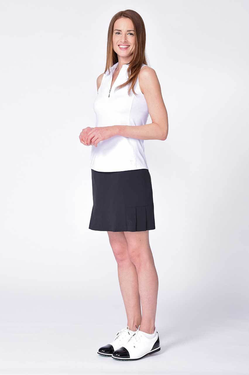 Black Performance Stretch Side Pleat Skort | Elvis