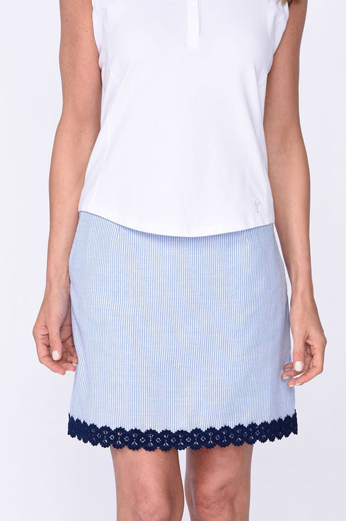 Navy Trim Stretch Cotton Skort | Fashion First | Available in 2 Lengths