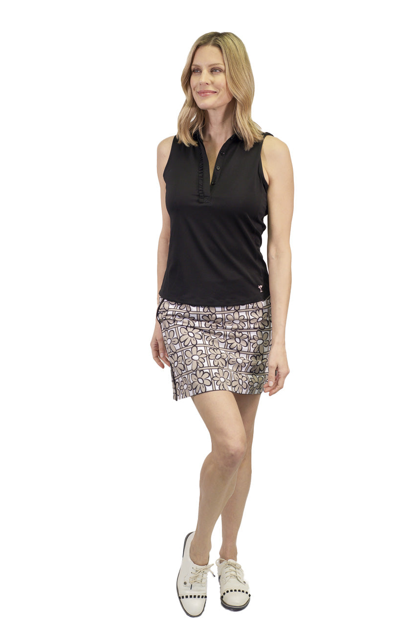 Khaki white and black floral women's golf skort. Stretch performance ladies skirt also available in a longer length.