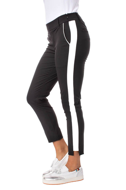 Black with White Stripe Pull-on Stretch Ankle Pant | Flirtini