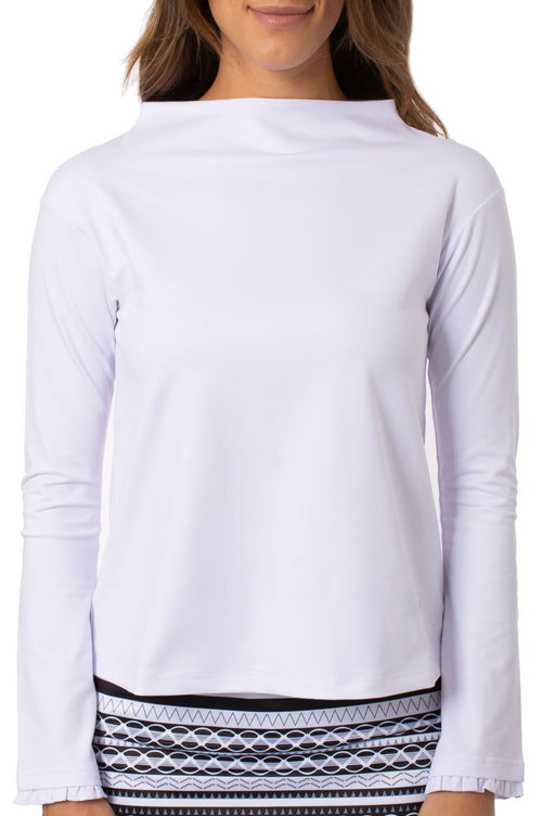 White Funnel Neck Pullover Top