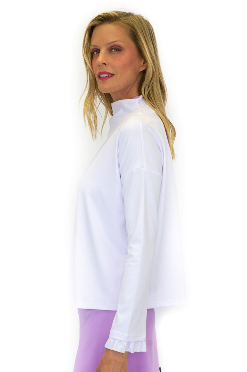NEW! Funnel Neck Pullover Top - White