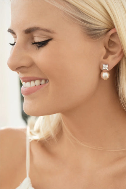 White | Duchess Collection Earring Jacket with Swarovski Pearls