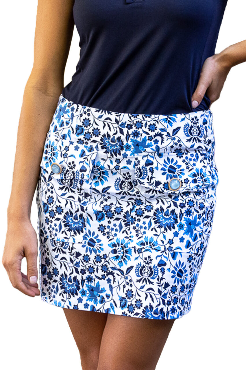 Blue & White Stretch Cotton Skort | Island Hopper | Available in 2 Lengths