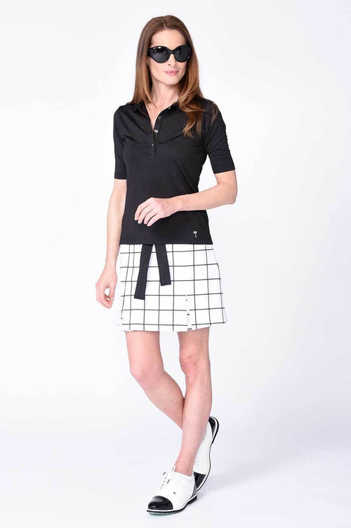 White and Black Plaid Pleat Performance Stretch Skort | Jackie O